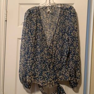 Banana Republic Sheer Floral Wrap Top